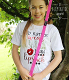 Gymnast T-Shirt with slogan 'I'd rather wear chalk than lipstick' with shiny metallic red lips design
