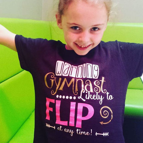 WARNING KIDS GLITTER T-SHIRT 'LIKELY TO FLIP' (multi activity)