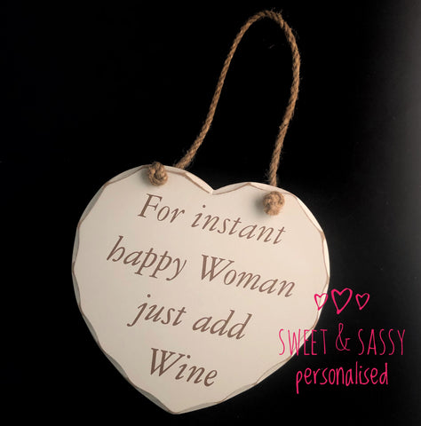 Happy Woman Wooden Heart Hanging Plaque