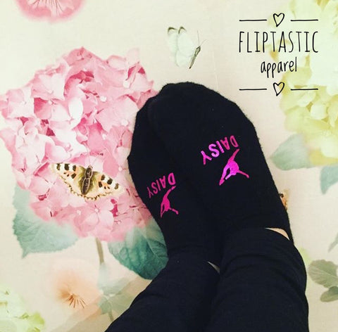 Personalised 'LEAP' Girls Trainer Socks for Dance or Gymnastics