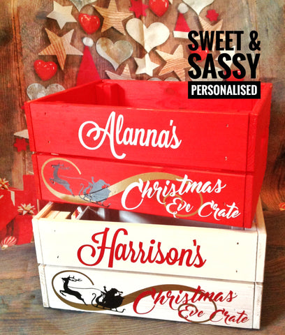 PERSONALISED CHRISTMAS EVE CRATE (Name in swirly font)