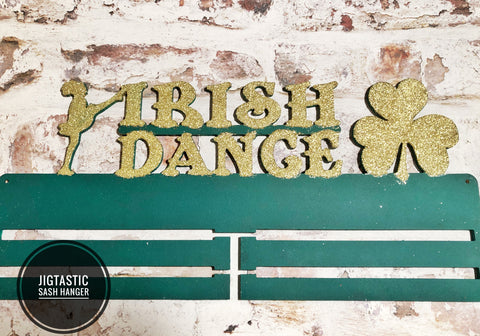 GREEN & GOLD DOUBLE RAIL GLITTERED SASH HANGER