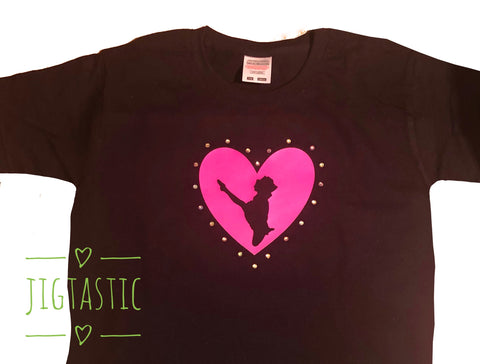 Irish Dance Jig Heart T-Shirt Age 7-8