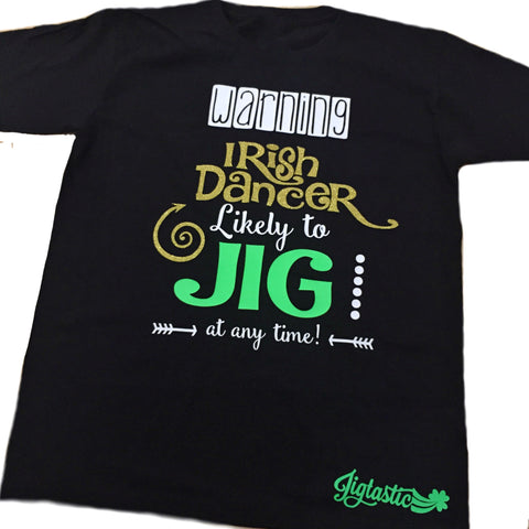 KIDS GLITTER T-SHIRT 'WARNING... LIKELY TO JIG'