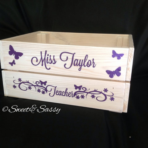PERSONALISED SPARKLE BUTTERFLY & FLOWERS TEACHER CRATE