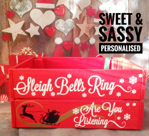 SLEIGH BELLS CHRISTMAS CRATE (Name in swirly font)