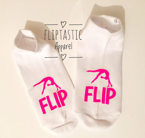 'FLIP' Gymnast or Cheer Girls Trainer Socks. Teen size 4-5.5