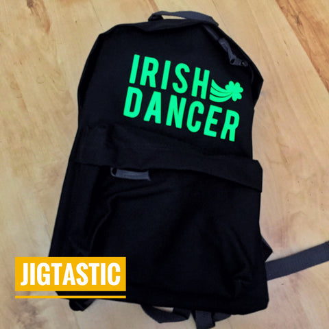 IRISH DANCER BLACK / LIME BACKPACK (Ready to ship)
