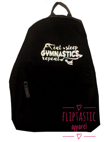 EAT SLEEP GYMNASTICS REPEAT BLACK BACKPACK