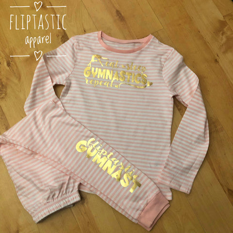 GIRLS EAT SLEEP REPEAT CANDY STRIPE LOUNGEWEAR