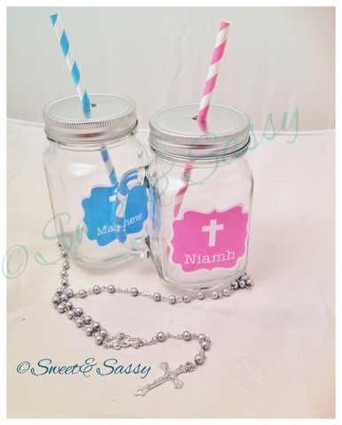 PERSONALISED HOLY COMMUNION MASON JAR