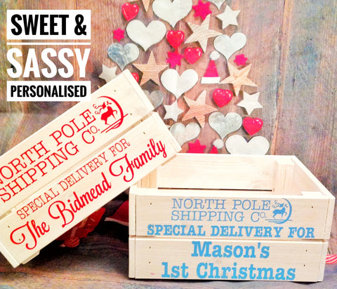 PERSONALISED NORTH POLE DELIVERY CRATE (Name in capitals)