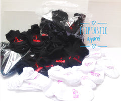 Personalised socks for gymnastics clubs by Fliptastic