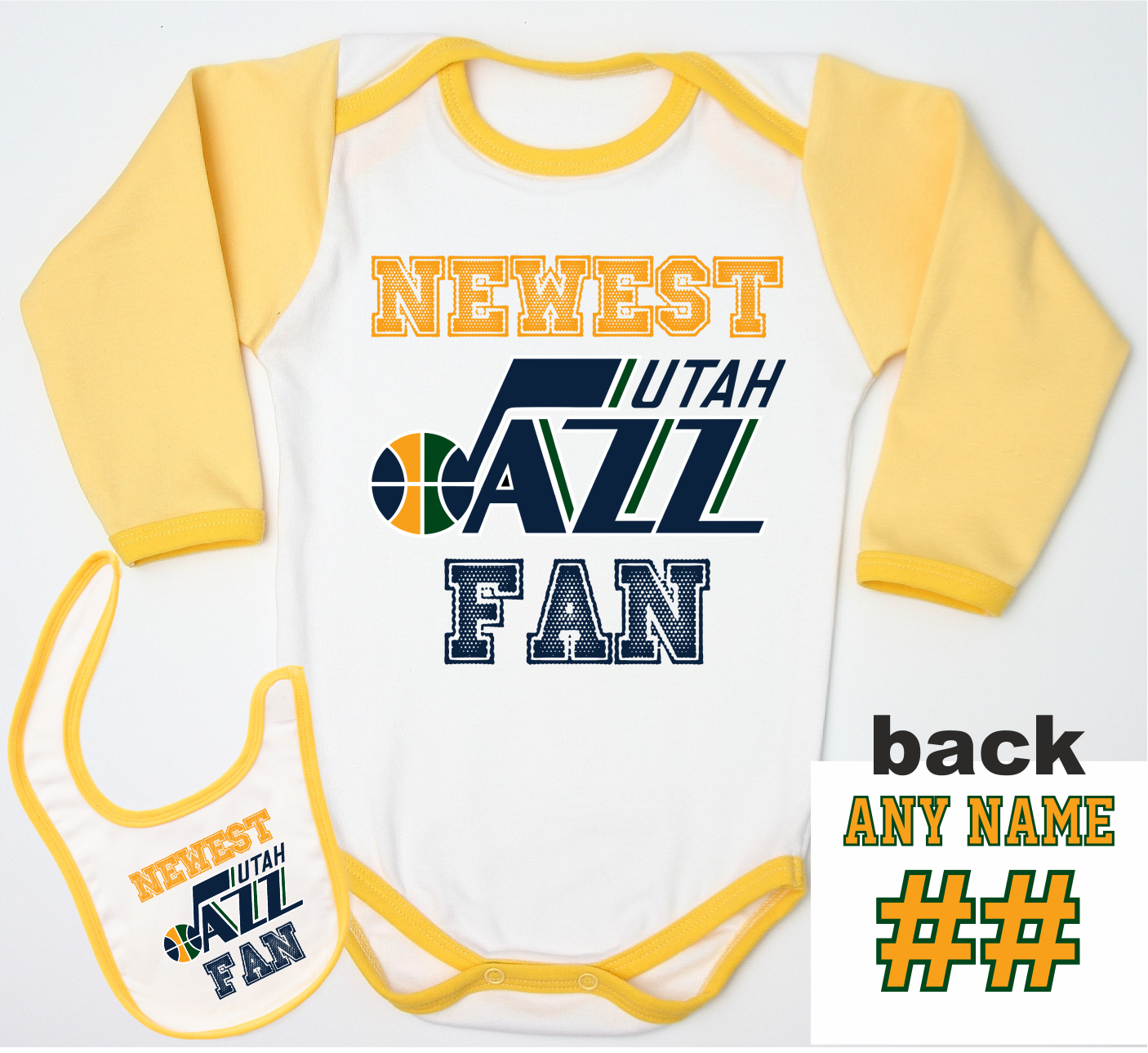 premium selection d7283 357f3 Utah Jazz Baby Bodysuit Yellow Logo 2 – pepstyle