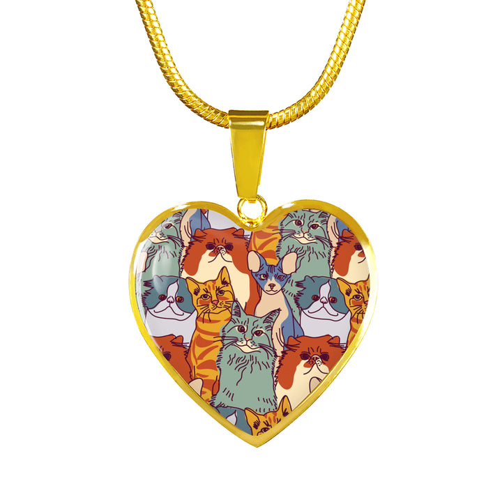 18K Gold Lover Of All Cats Heart Necklace Golden Age Jewelers