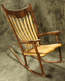 Birdseye Maple and Walnut Sculpted Rocking Chair