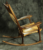 Quilted Maple and Walnut Sculpted Rocking Chair