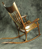 Zebrawood and Walnut Sculpted Rocking Chair
