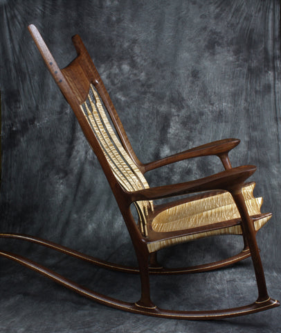 Curly Maple and Walnut Sculpted Rocking Chair