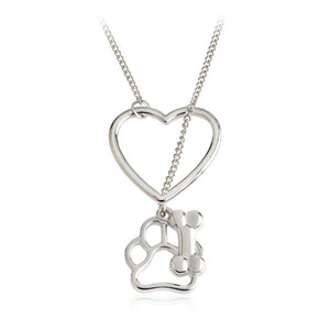 Silver plated bone paw print pendant necklace paws fitness silver plated bone paw print pendant necklace aloadofball