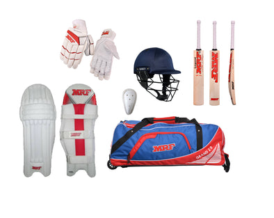 MRF Professional Set includes Bat, pads, gloves, kitbag, helmet and abdo guard. All you need to get going!