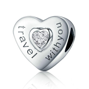 Reise Charm Anhänger Herz mit Stein - Travel with You - BAMOER 925 Sterling Silber www.trawell.shop