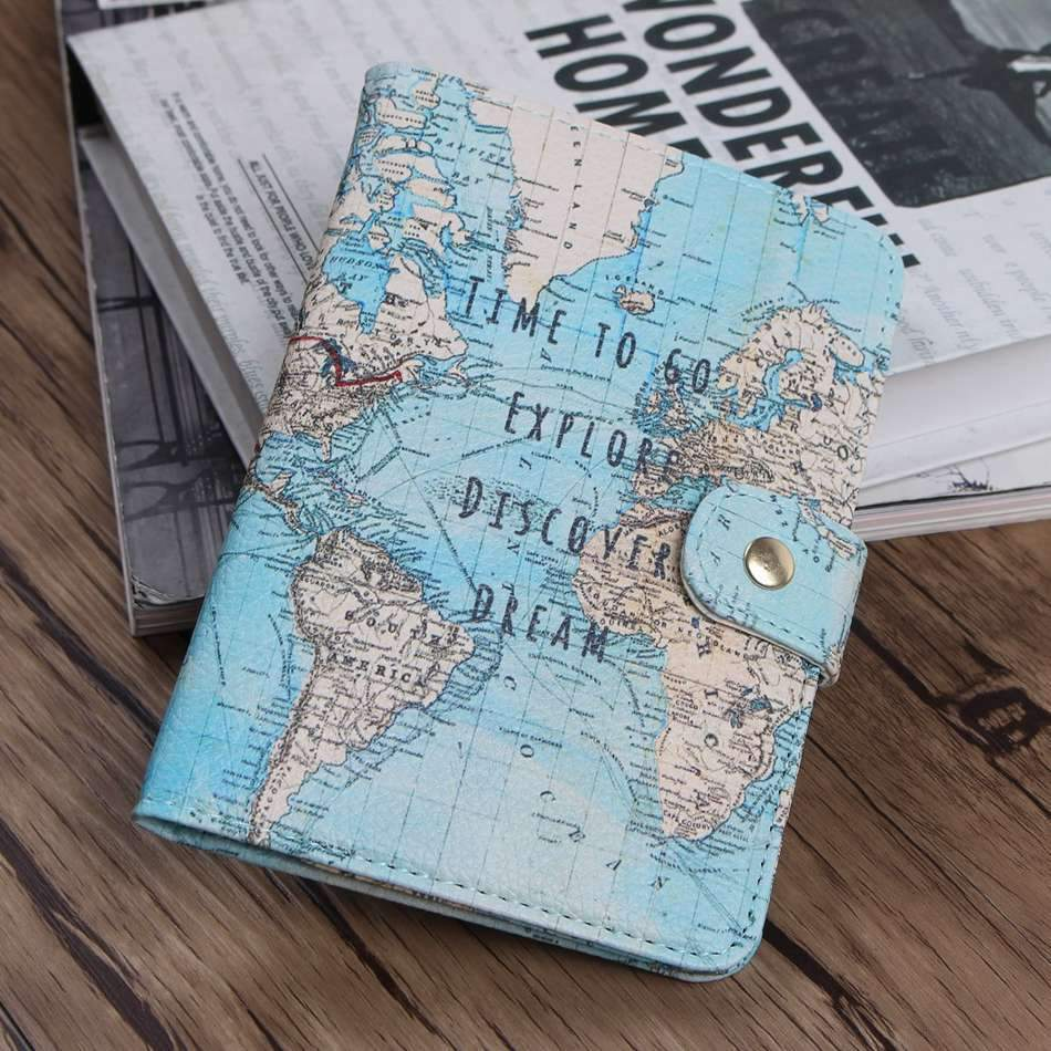 FREE Passport Cover World Map - Backpacking Travel Gear