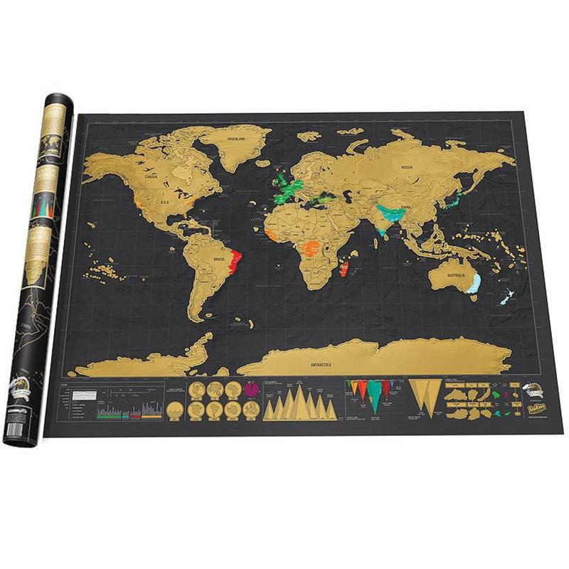 Travel World Map Scratch Off - Backpacking Travel Gear