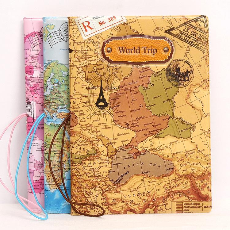 World Trip Passport Holder - 3 Map Designs! - Backpacking Travel Gear
