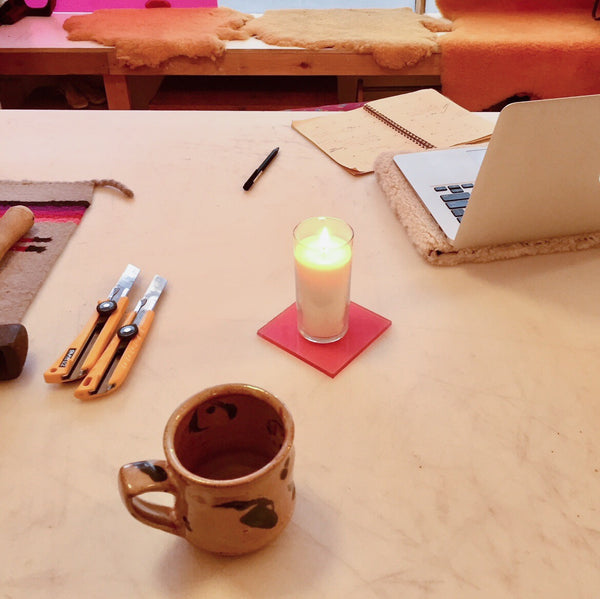 Rachel Corry's studio ft. Solare signature candle