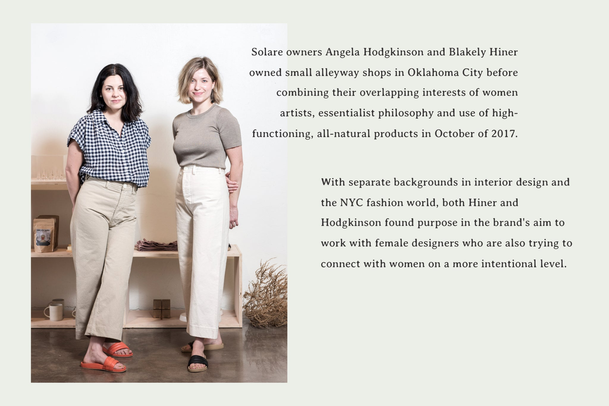 Solare - About the Owners Angela Hodgkinson and Blakely Hiner