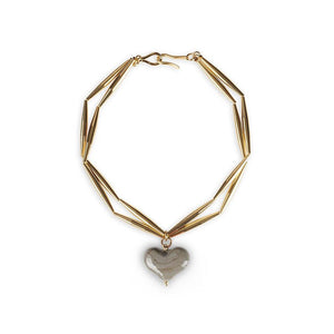 HELIA CUORE DUO NECKLACE IN GOLD - Tohum Design