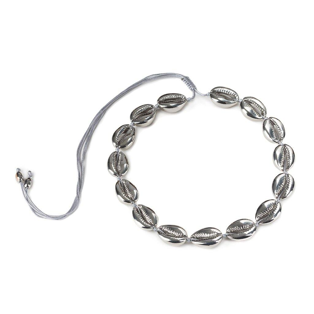 CONCHA LARGE PUKA SHELL NECKLACE IN SILVER - Tohum Design