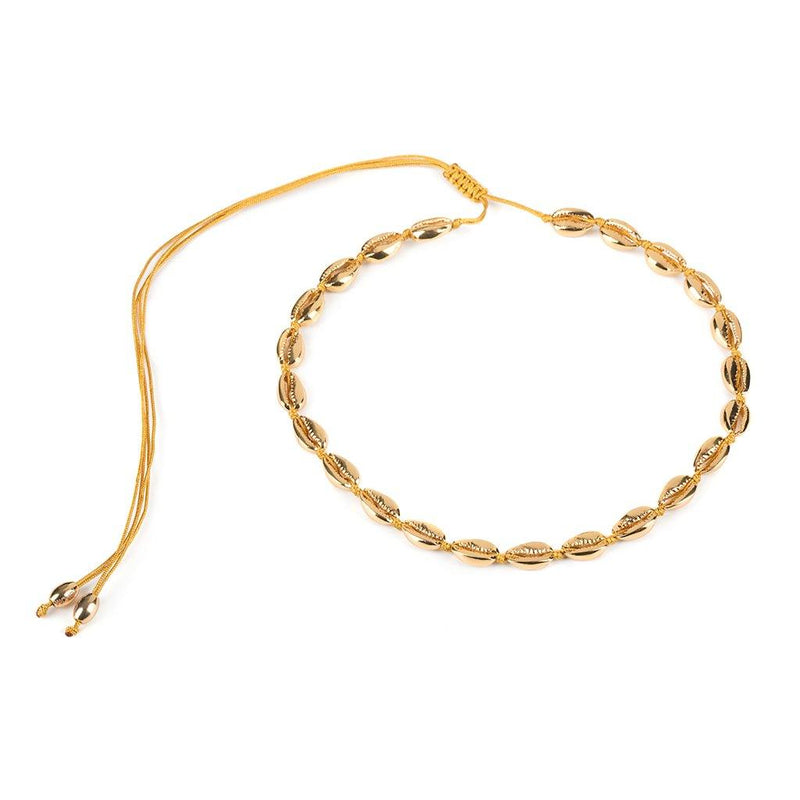 SMALL PUKA SHELL NECKLACE IN GOLD - Tohum Design