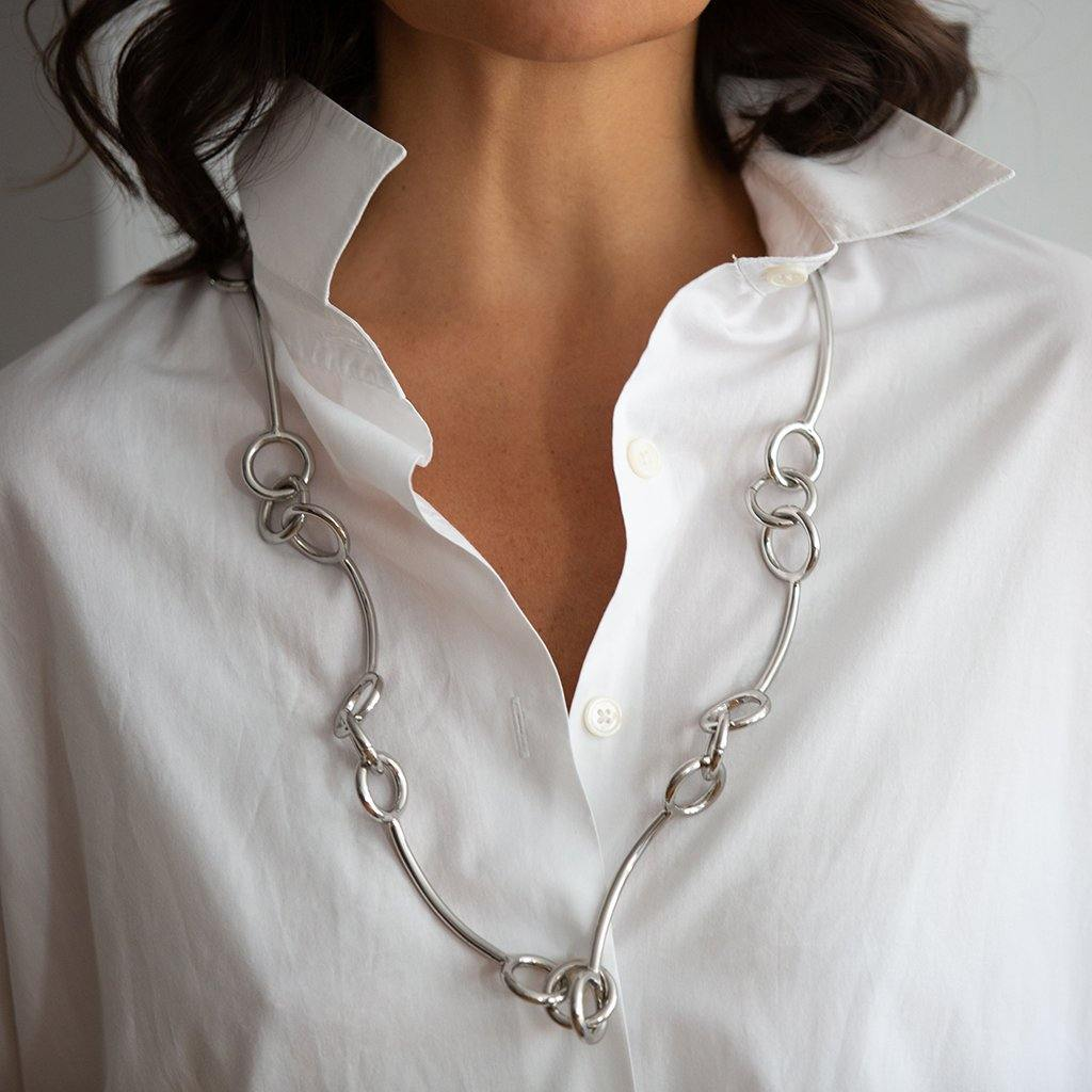 DUNYA SAMOA LARGE NECKLACE IN SILVER - Tohum Design