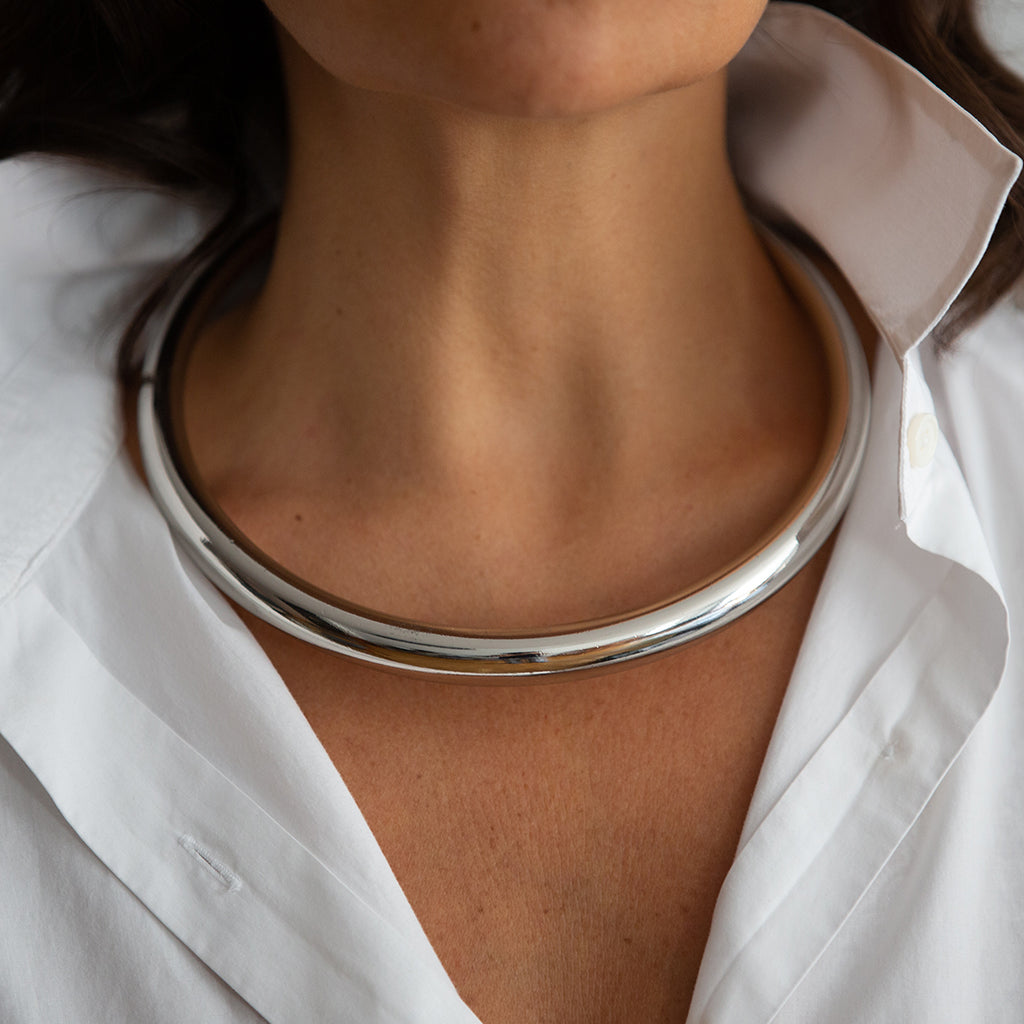 LUMIA SOL CHOKER NECKLACE IN SILVER - Tohum Design