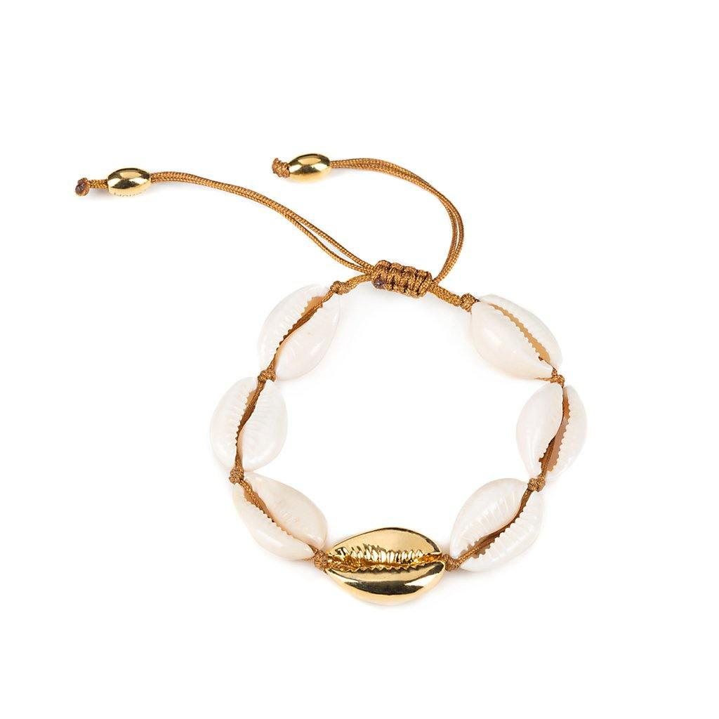 NATURAL LARGE PUKA SHELL BRACELET WITH GOLD SHELL - Tohum Design