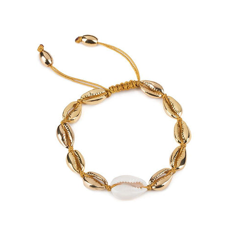 LARGE PUKA SHELL BRACELET IN GOLD WITH NATURAL SHELL
