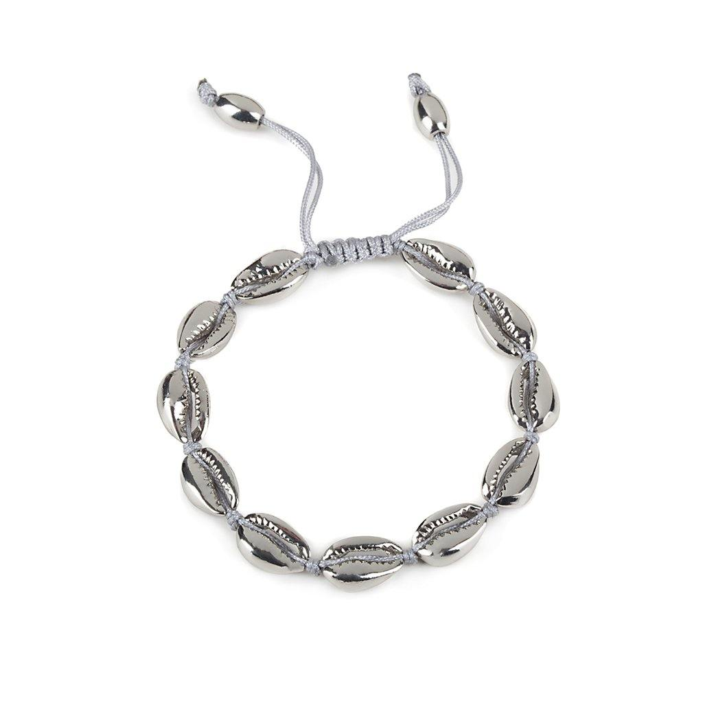 CONCHA SMALL PUKA SHELL BRACELET IN SILVER - Tohum Design