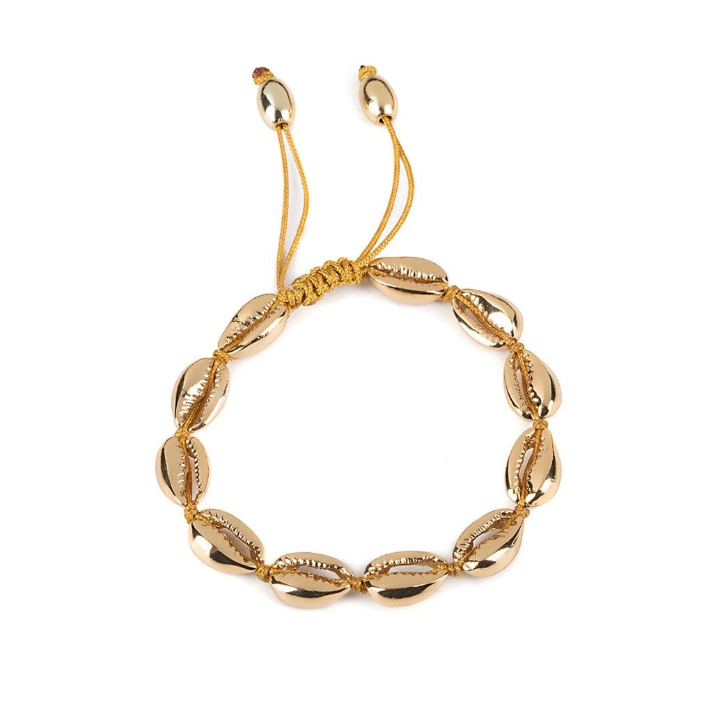 CONCHA SMALL PUKA SHELL BRACELET IN GOLD - Tohum Design