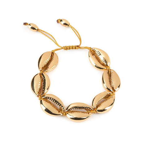 MEDIUM PUKA SHELL BRACELET IN GOLD WITH NATURAL SHELL