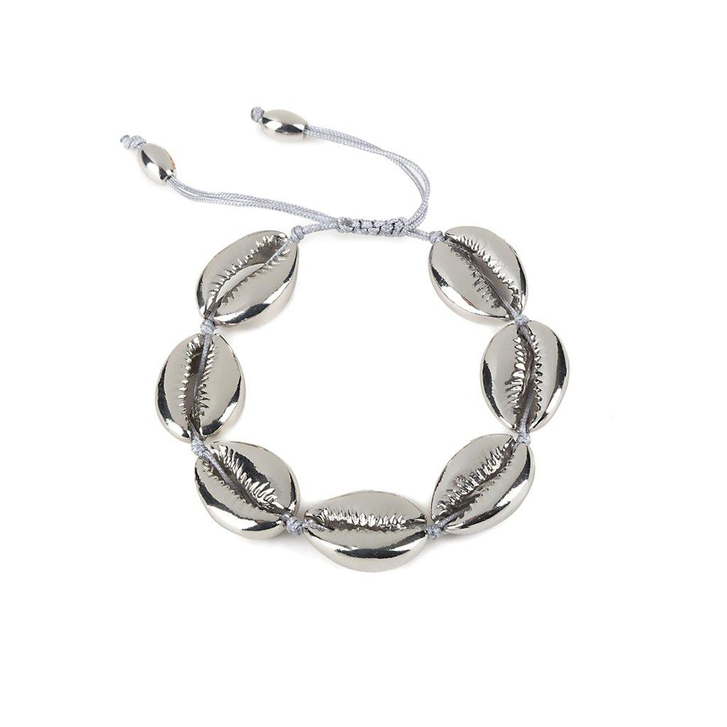 LARGE PUKA SHELL BRACELET IN SILVER - Tohum Design