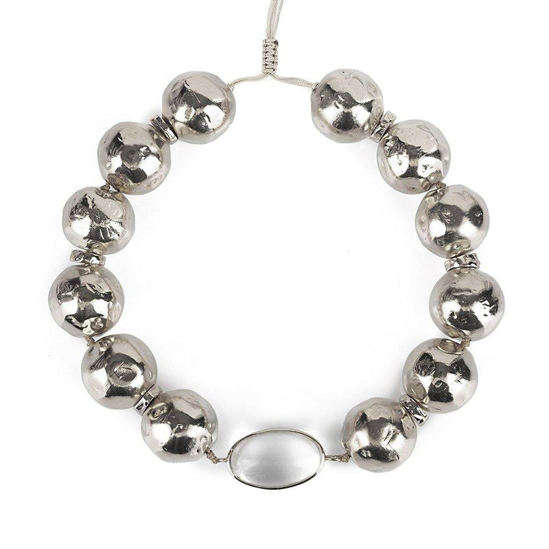 PURE LIGHT GLOBE CHOKER NECKLACE WITH ROCK CRYSTAL IN SILVER - Tohum Design