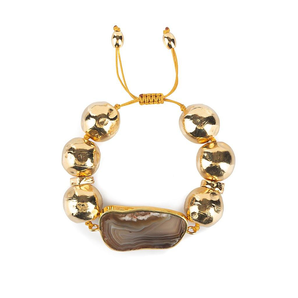 Pure Light Globe Bracelet With Agate In Gold - Tohum Design