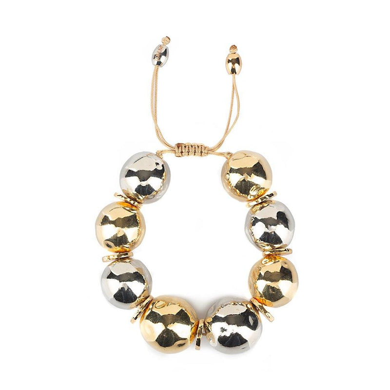 PURE LIGHT MIX GLOBE BRACELET IN GOLD AND SILVER - Tohum Design