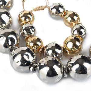 Pure Light Mix Medium Globe Bracelet In Gold And Silver - Tohum Design
