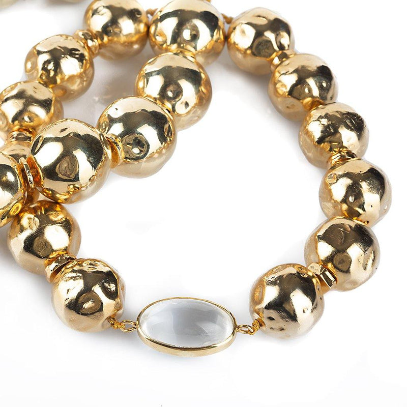 PURE LIGHT GLOBE CHOKER NECKLACE WITH ROCK CRYSTAL IN GOLD - Tohum Design