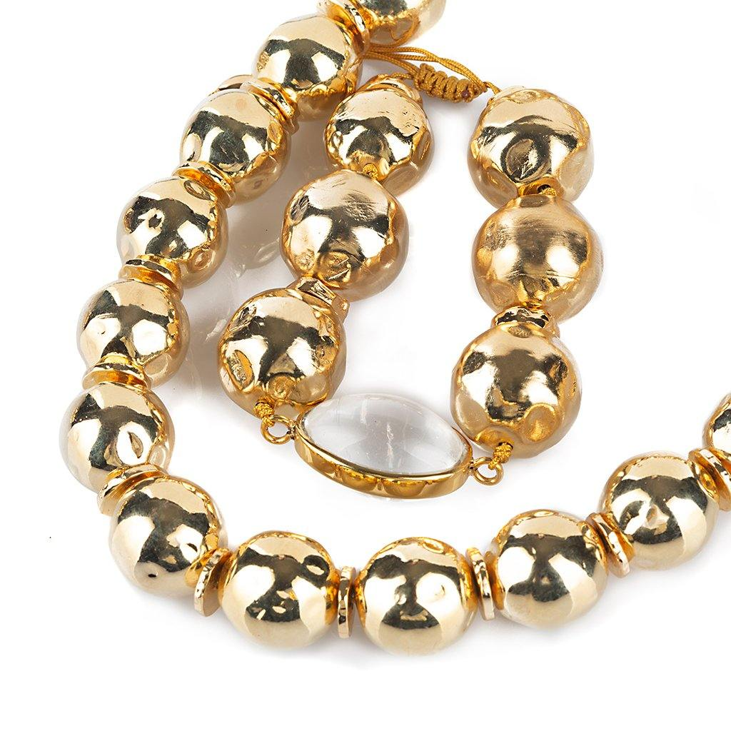 PURE LIGHT GLOBE BRACELET WITH ROCK CRYSTAL IN GOLD - Tohum Design
