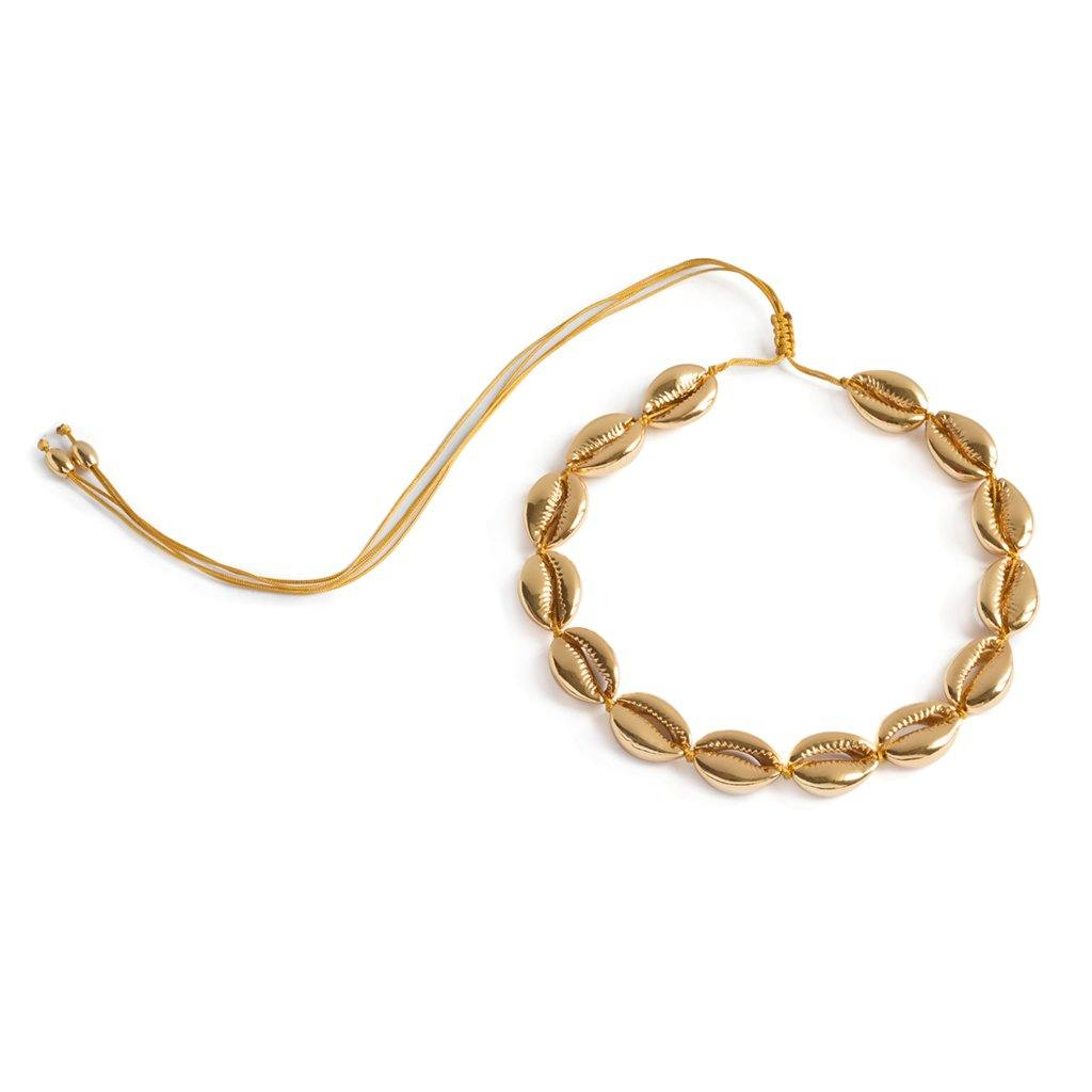 CONCHA LARGE PUKA SHELL NECKLACE IN GOLD - Tohum Design