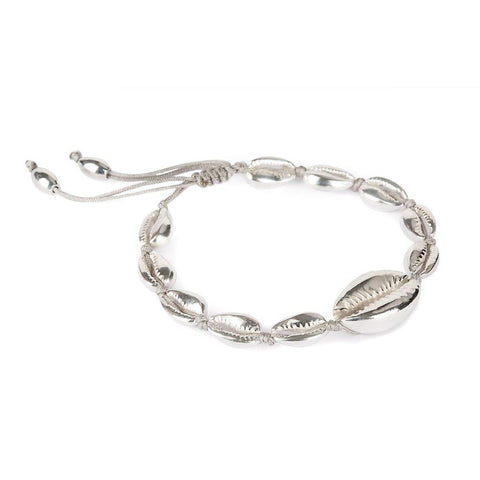 LARGE PUKA SHELL BRACELET IN SILVER WITH NATURAL SHELL